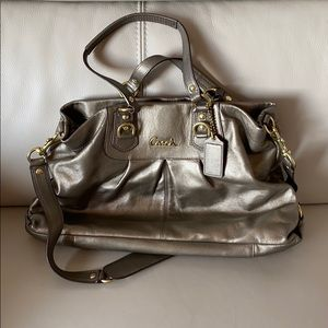 Pewter Leather Coach Bag with Removable Strap
